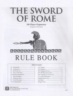 Sword of Rome 5th Player Expansion
