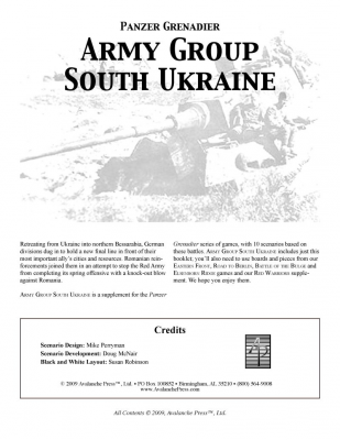 Panzer Grenadier: Army Group South Ukraine: Battles in Bessarabia, 1944