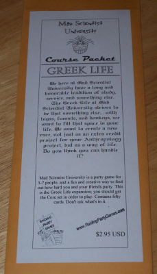 Mad Scientist University Course Packet: Greek Life